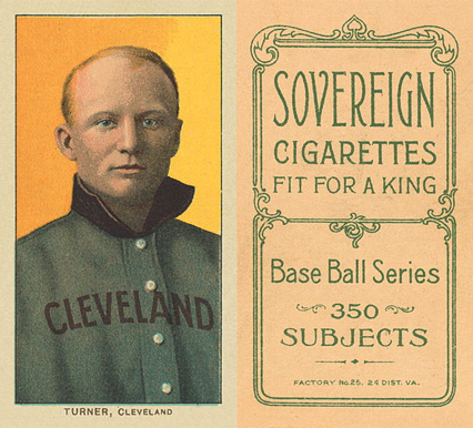 1909 White Borders Sovereign Turner, Cleveland #490 Baseball Card