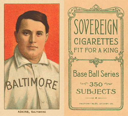 1909 White Borders (Sovereign) Doc Adkins #5 Baseball Card