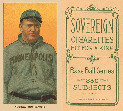 1909 White Borders Sovereign Young, Minneapolis #524 Baseball Card