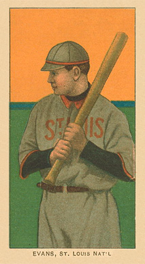 1909 White Borders Ghosts, Miscuts, Proofs, Blank Backs & Oddities Evans, St. Louis Amer. #165 Baseball Card