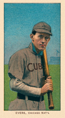 1909 White Borders Ghosts, Miscuts, Proofs, Blank Backs & Oddities Evers, Chicago Nat'L #168 Baseball Card