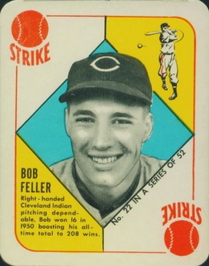 1951 Topps Red Backs Bob Feller #22 Baseball Card