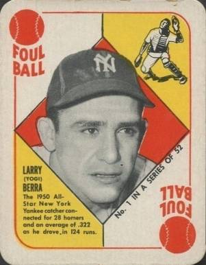 1951 Topps Red Backs Yogi Berra #1 Baseball Card