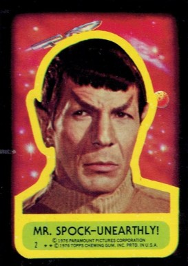 1976 Topps Star Trek Stickers Mr. Spock unearthly #2 Non-Sports Card