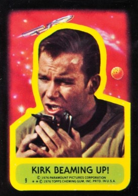 1976 Topps Star Trek Stickers Kirk beaming up! #9 Non-Sports Card