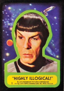 1976 Topps Star Trek Stickers Highly Illogical! #11 Non-Sports Card