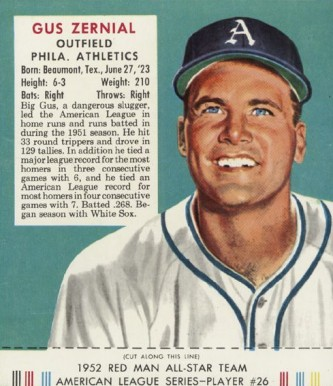 1952 Red Man Tobacco (with Tabs) Gus Zernial #26a Baseball Card