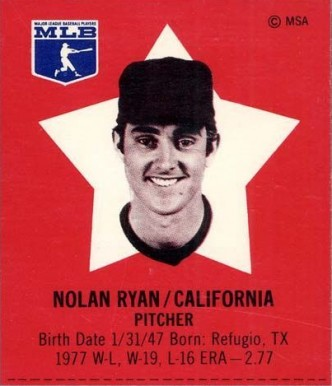 1978 Pepsi-Cola Superstars Nolan Ryan # Baseball Card