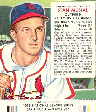 Stan Musial Hall Of Fame Baseball Cards