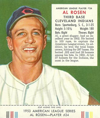 1953 Red Man Tobacco (with Tabs) Al Rosen #24a Baseball Card