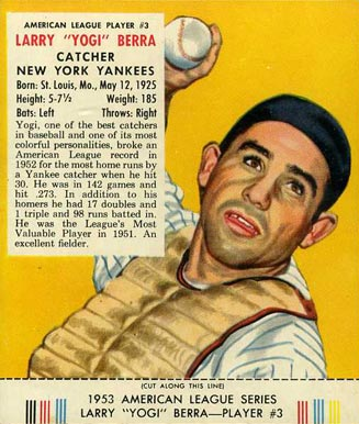 1953 Red Man Tobacco (with Tabs) Larry (Yogi) Berra #3a Baseball Card
