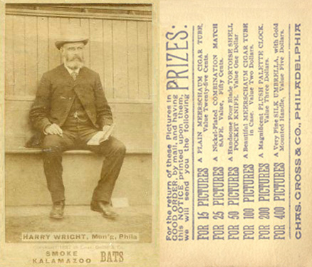 1887 Kalamazoo Bats Harry Wright #61 Baseball Card