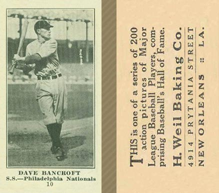 1916 Weil Baking Co. Dave Bancroft #10 Baseball Card