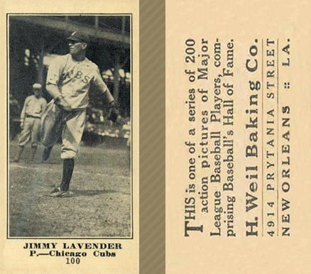 1916 Weil Baking Co. Jimmy Lavender #100 Baseball Card