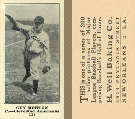1916 Weil Baking Co. Guy Morton #128 Baseball Card