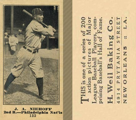 1916 Weil Baking Co. J. A. Niehoff #132 Baseball Card