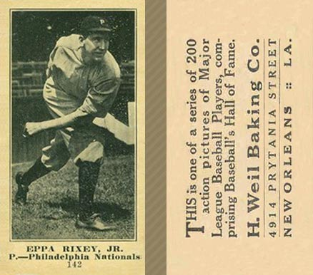 1916 Weil Baking Co. Eppa Rixey #142 Baseball Card
