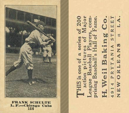 1916 Weil Baking Co. Frank Schulte #156 Baseball Card