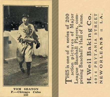 1916 Weil Baking Co. Tom Seaton #159 Baseball Card