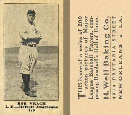 1916 Weil Baking Co. Bob Veach #179 Baseball Card