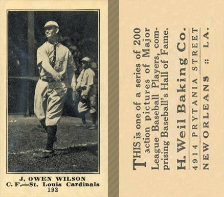 1916 Weil Baking Co. Owen Wilson #192 Baseball Card