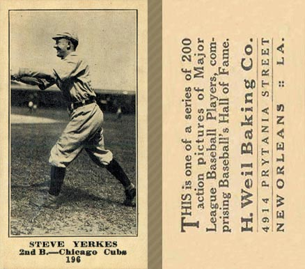 1916 Weil Baking Co. Steve Yerkes #196 Baseball Card