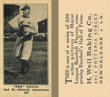 1916 Weil Baking Co. Pep Young #197 Baseball Card