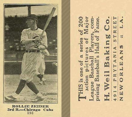 1916 Weil Baking Co. Rollie Zeider #198 Baseball Card