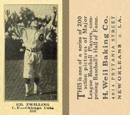 1916 Weil Baking Co. Edward Zwilling #200 Baseball Card