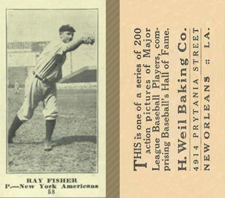 1916 Weil Baking Co. Ray Fisher #58 Baseball Card