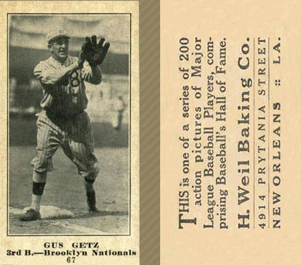 1916 Weil Baking Co. Gus Getz #67 Baseball Card