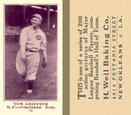 1916 Weil Baking Co. Tom Griffith #73 Baseball Card