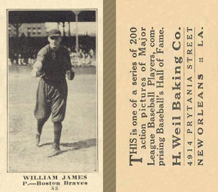 1916 Weil Baking Co. William James #88 Baseball Card