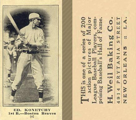 1916 Weil Baking Co. Ed. Konetchy #96 Baseball Card