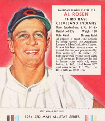 1954 Red Man Tobacco (with Tabs) Al Rosen #12a Baseball Card