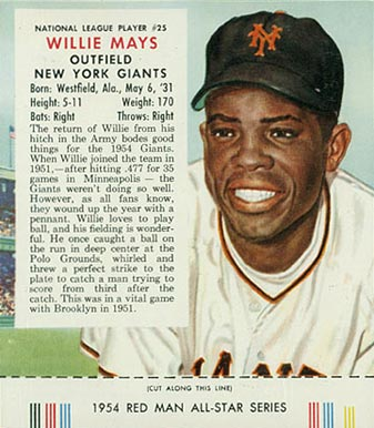 1954 Red Man Tobacco (with Tabs) Willie Mays #25n Baseball Card