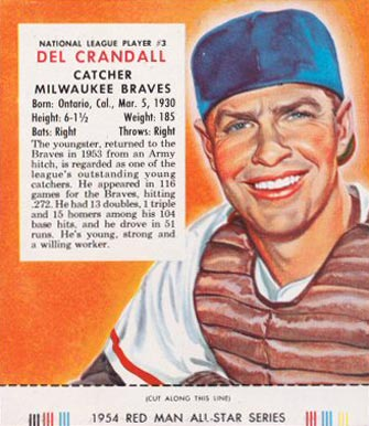 1954 Red Man Tobacco (with Tabs) Del Crandall #3n Baseball Card