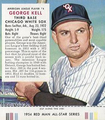 1954 Red Man Tobacco (with Tabs) George Kell #4a_c Baseball Card