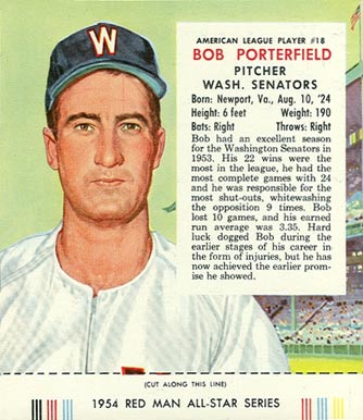 1954 Red Man Tobacco (with Tabs) Bob Porterfield #18a Baseball Card