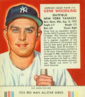 1954 Red Man Tobacco (with Tabs) Gene Woodling #15a Baseball Card