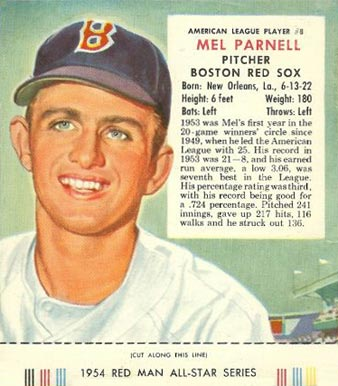 1954 Red Man Tobacco (with Tabs) Mel Parnell #8a Baseball Card
