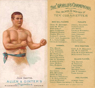 1888 Allen & Ginter Jem Smith #43 Boxing & Other Card