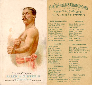 1888 Allen & Ginter Jimmy Carroll #11 Boxing & Other Card