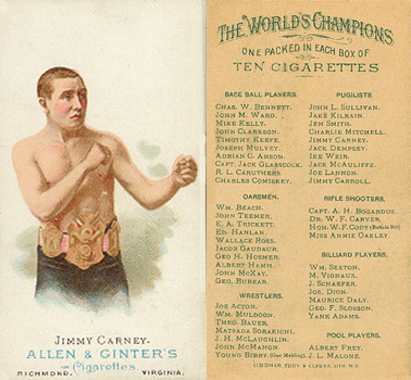 1888 Allen & Ginter James Carney #10 Boxing & Other Card
