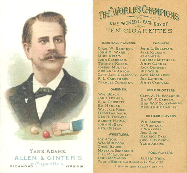 1888 Allen & Ginter Yanks Adams #2 Boxing & Other Card