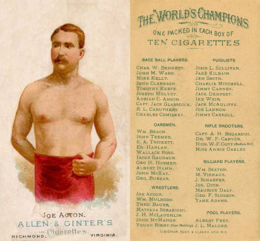 1888 Allen & Ginter Joe Acton #1 Boxing & Other Card