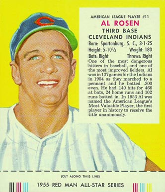 1955 Red Man Tobacco (with Tabs) Al Rosen #11a Baseball Card