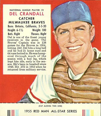 1955 Red Man Tobacco (with Tabs) Del Crandall #2n Baseball Card