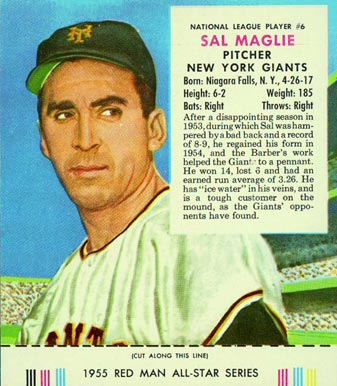 1955 Red Man Tobacco (with Tabs) Sal Maglie #6n Baseball Card