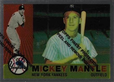 1962 Topps 1996 Topps Commemorative Reprints Finest #12 Mickey Mantle Card